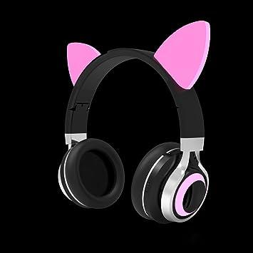 LQQAZY Auriculares Bluetooth Plegable Subwoofer Oído Deportes MP3 / Mobile/TV Auriculares,Pink
