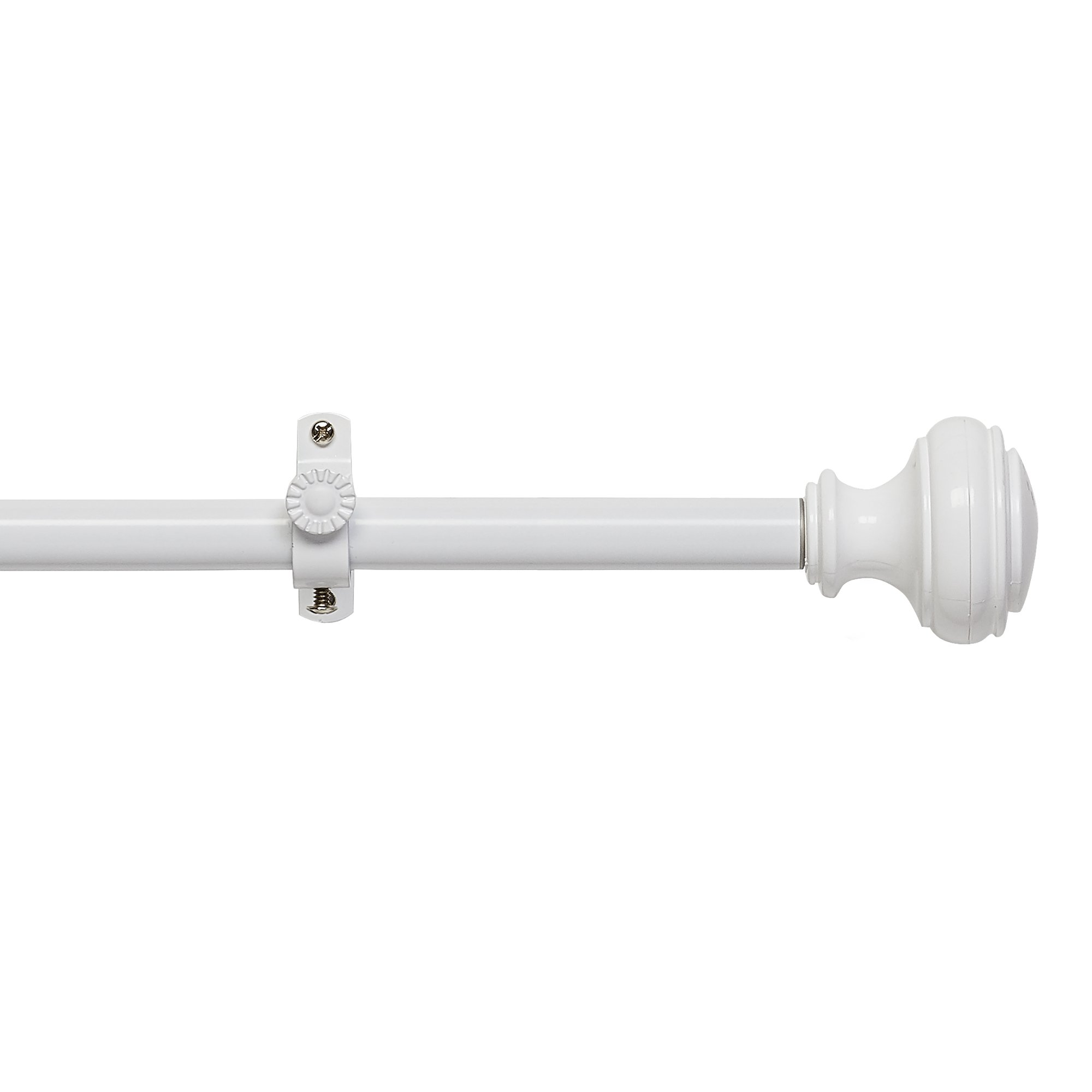 Achim Home Furnishings Buono II Decorative Rod and Finial Bradford, 66'' up to 120'', White