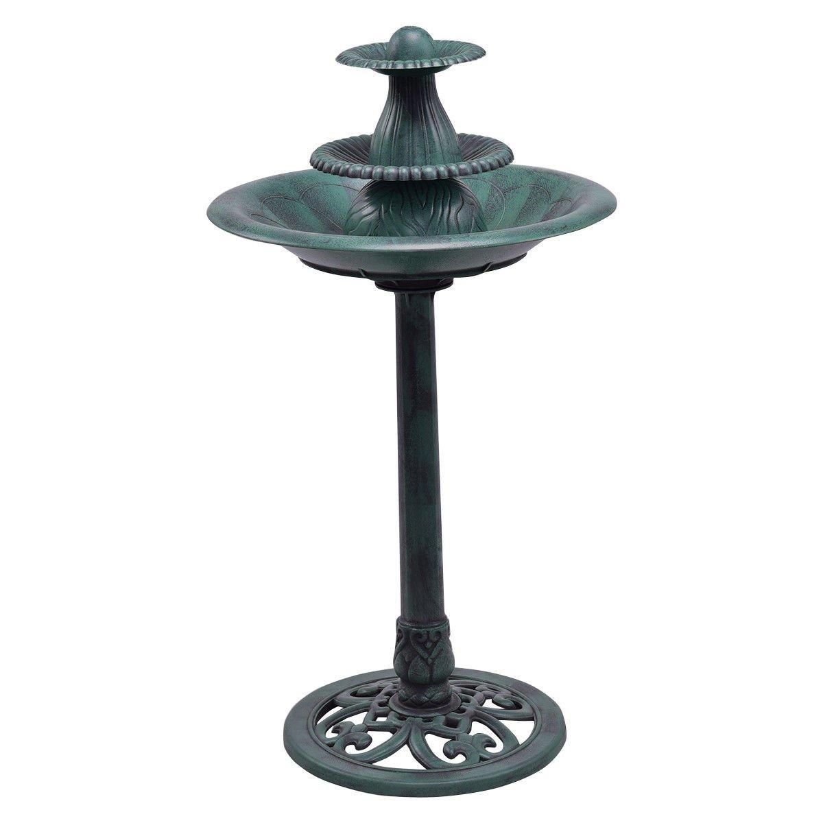 FDInspiration Antique Verdigris Finish 3 Tier Fountain Bird Bath Pedestal Garden Decor w/Pump Recirculation System