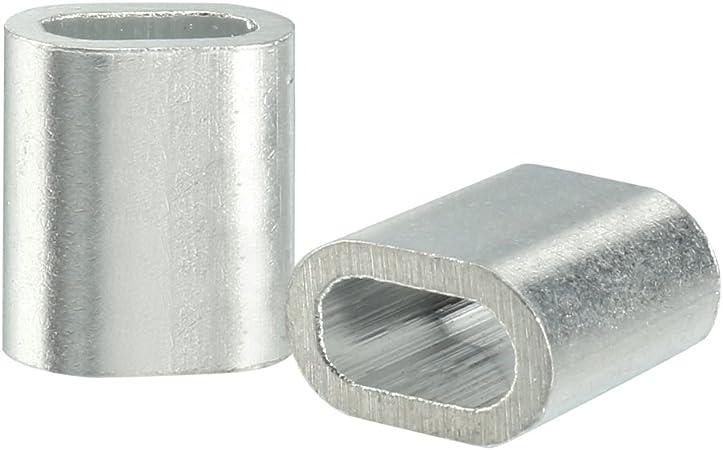 sourcingmap/® C/âble 1.5mm C/âble m/étallique Manchons /à sertir en aluminium clip boucle 50pcs