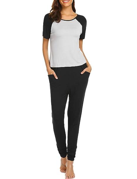 6a3299d7b3 Ekouaer Pajamas Raglan-Sleeve Lounge-Ready Sets Casual Top   Bottom  Sleepwear