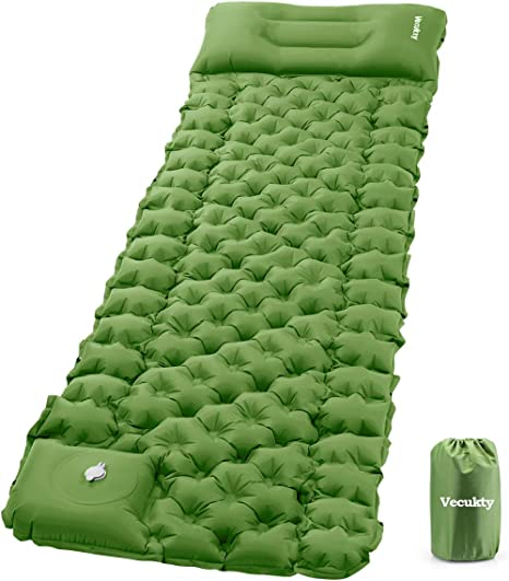 VECUKTY Inflatable Camping Sleeping Pads with Pillow, Camping Air Mat with Pump, Upgraded Ultralight Durable Waterproof Compact Air Mattress Tent Backpacking Traveling Hiking Outdoor Trip