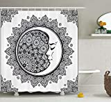 KANATSIU Intricate Boho Ethnic Mandala Form Crescent Moon Alchemy Symbol Shower Curtain 12 plactic Hooks,100% Made Polyester,Mildew Resistant & Machine Washable,Width x Height is 60x72