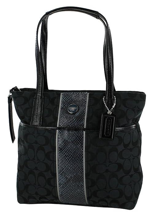 3f2a4433781c Amazon.com  Coach Signature Stripe Python Tote - Black  Shoes