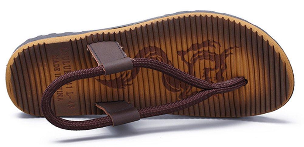 SHOWHOW Men's Daily Sandals - Split Toe Elastic Slip On - Seaside Shoes Khaki 10 D(M) US by SHOWHOW (Image #3)