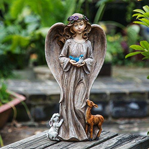 (Ivy Home Angel Décor Holding A Bird Resin Garden Statuary )