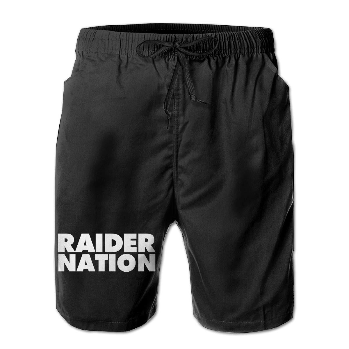 Straight Outta Raider Nation Mens Summer Casual Shorts,Beach Shorts Swim Trunks