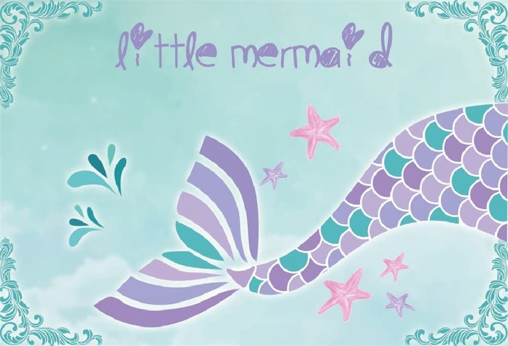 LB Mermaid Backdrops for Photography 9x6ft Girls Baby Shower Background Cake Smash Birthday Party Banner Photo Studio Shooting Props,Fabric Washable CL1146