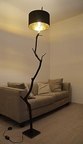 Lámpara de pie en rama de roble madera recuperada moderna natural ...