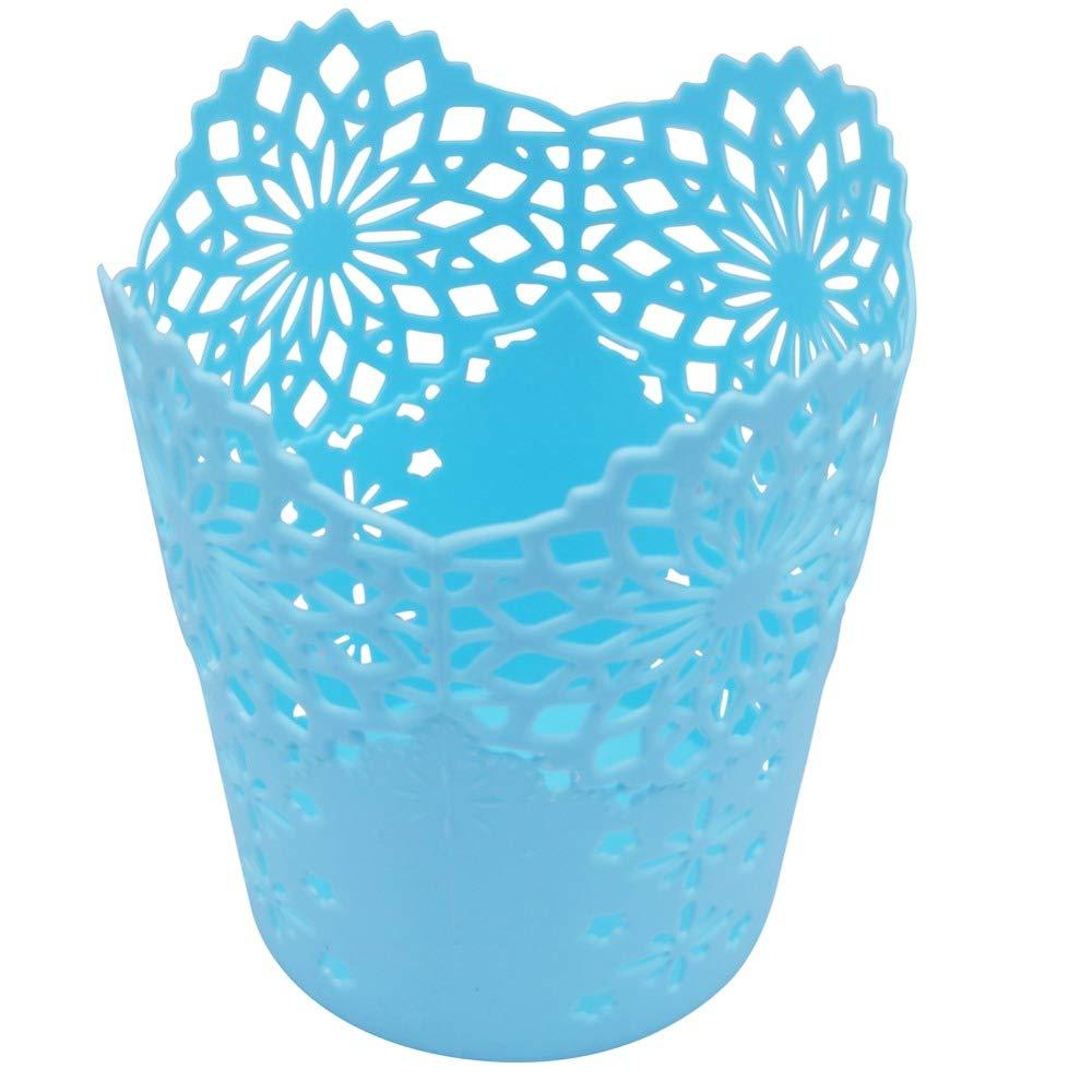 LAAT Hollow Pen Holder Plastic Desktop Trash Can Rubbish Basket Office Desk Organizer Paper Debris Storage Bucket Table Dustbin Garbage Bin Without Lid (Blue)