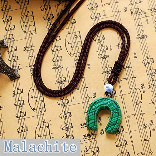 (Horseshoe Pendant Natural Emerald Stone Necklace Sapphire Fine Jewelry Jewelry World of Warcraft Sailor Moon Bohemian (Malachite))