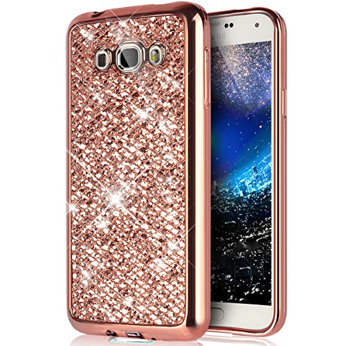 Galaxy J1 2016 Case, Amp 2 Case,Express 3 Case,[Glitter TPU Case] ikasus Shiny Sparkle Bling Glitter Plated Soft TPU Silicone Rubber Protective Case Cover for Galaxy J1 2016/Amp 2/Express 3,Rose Gold
