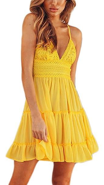 Vestidos Verano Mujer Cortos Elegantes con Encaje Vestidos Playa Sin Mangas V Cuello Espalda Descubierta Vestidos Años 50 Moda Casual Vestido Corto: ...