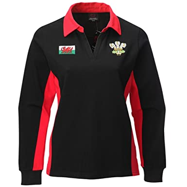 ae4454ab2d6 Manav (UK) Ladies Welsh Contrast Long Sleeve Black Rugby Shirt: Amazon.co.uk:  Clothing