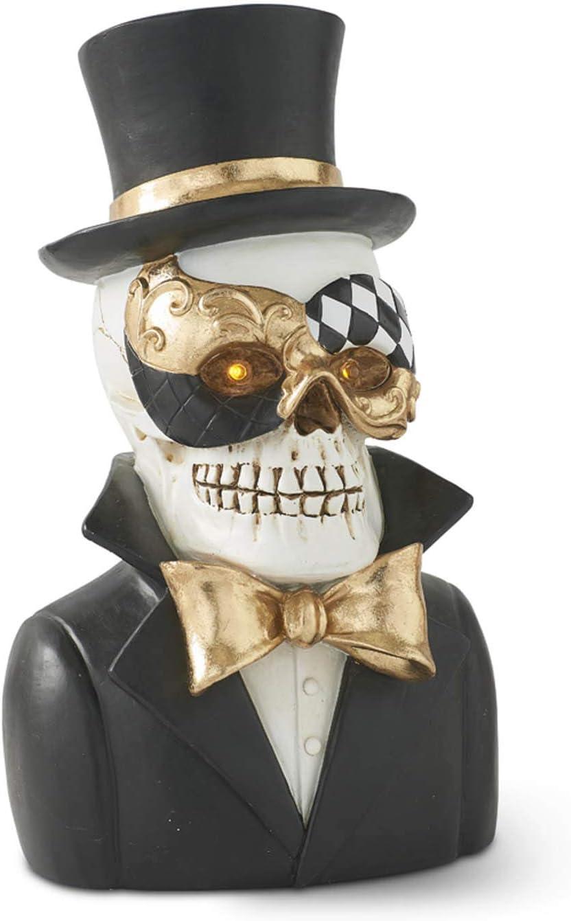 Black and White K/&K Interiors 41583A Set of 2 Resin Masquerade Skeleton Bust w//LED Eyes