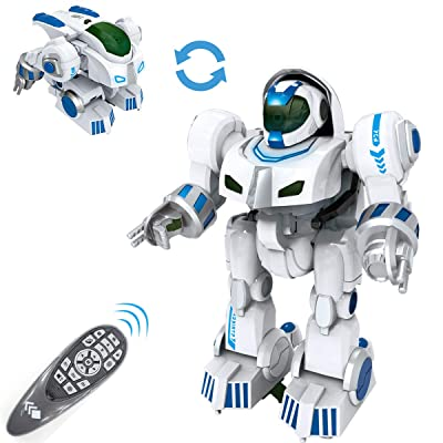 fisca Remote Control Robot RC Fingerprinting Transform Smart Walking Dancing Intelligent Programmable Robots Toys with Light and Sound for Kids Boys Girls: Toys & Games