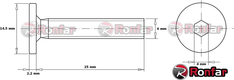 RONFAR Vis /à t/ête cylindrique /à six pans creux pour meubles avec filetage m/étrique enti/èrement filet/ées M6 x 25mm 100 pi/èces