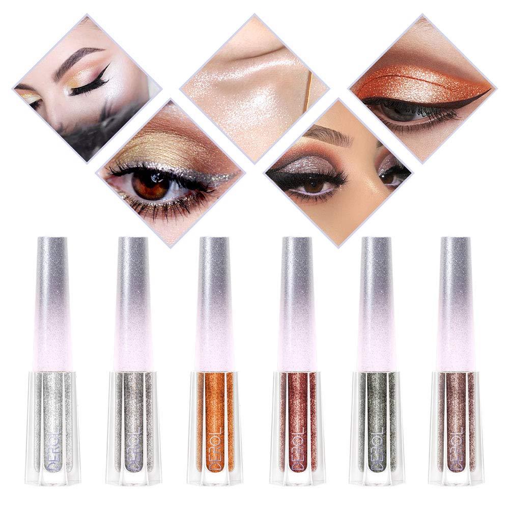 DAGEDA 6Colors Diamond Glitter &Glow Liquid Eye Shadow Set, Metals Glitter Shimmer Eyeliners Long Lasting Waterproof Eye Shadow Eye Makeup Cosmetic