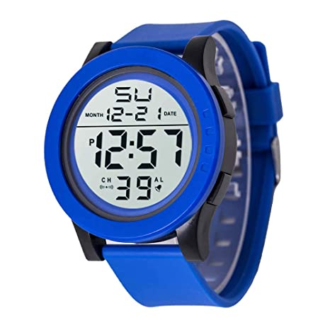 Tsutou Reloj HONHX Unisex Multi-Function Sport Resin Correa Reloj Digital (Color : Blue