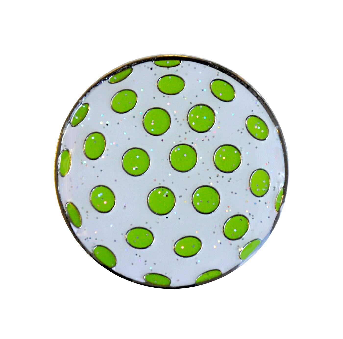 Navika Glitzy Polka Dot (ホワイト&グリーン)マーカーwith磁気帽子クリップ   B00XLVUL1I