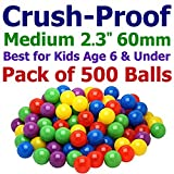 My Balls 500 Medium Size Ball Pit Balls - 5 Bright Colors; 2.3'' 60mm, Crush-Proof Air-Filled; Phthalate Free; BPA Free; non-Toxic; non-PVC; non-Recycled Plastic Same Size as Click N' Play