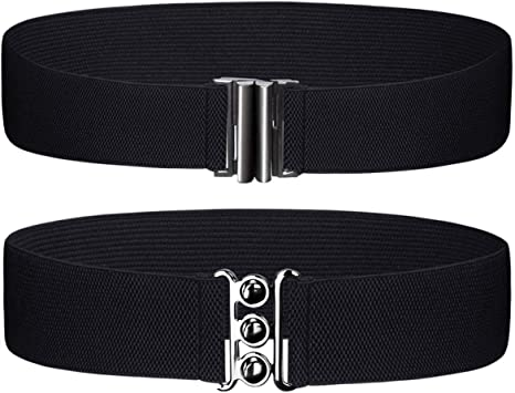 50mm Wide Women/'s Black Waist Belt Ladies Stretch Waistband Clipon Clasp Silver Buckle for Western Outfits Casual or Formal Dresses Gowns