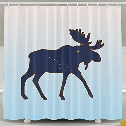 Amazon BESTSC Bath Curtain Alaska State Animal Moose Flag