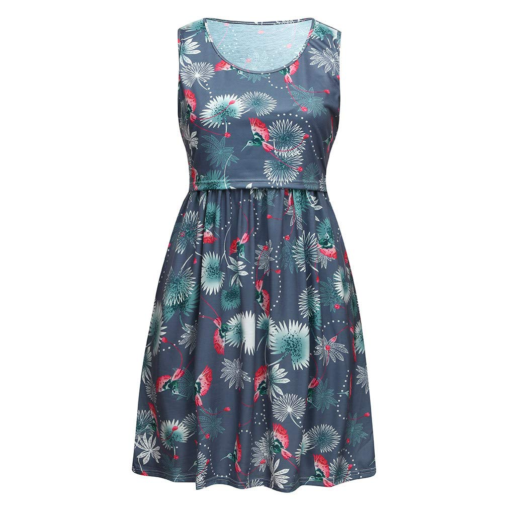 Lurcardo Stillkeid Umstandskleid Ohne Arm Floral Bedruckt Rundhals Still Kleid Schwangerschafts Kleid Still-Nachthemd Stillen Kleid Umstandsmode Frauen Damen Kleid Sommer Damen Kleider