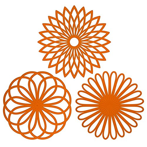 ME.FAN 3 Set Silicone Multi-Use Flower Trivet Mat - Premium Quality Insulated Flexible Durable Non Slip Coasters Hot Pads Orange]()