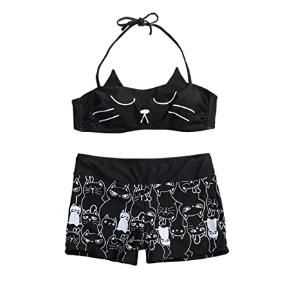 706b412e82 Image Unavailable. Image not available for. Color  ZLOLIA Women Summer  Swimwear Cute Kitty Cat Print Girl Strappy Bikini Shorts Set Padded Bathing  Suit