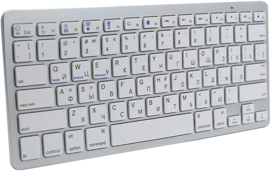 Multi-Device Russian Language Wireless Bluetooth Keyboard, Ultra Slim Wireless Bluetooth Keyboard Compatible for iMac Pro Mac Mini iPad, iPad Pro, iPhone, Android Tablets, Windows, iOS, Mac OS