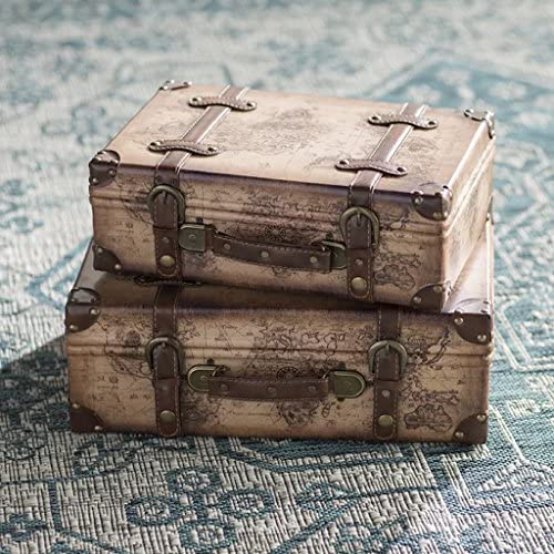 Vintiquewise TM Old World Map Leather Vintage Style Suitcase with Straps, Set of 2