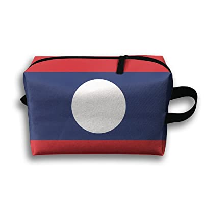 Laos Flag Cosmetic Bag Zipper Makeup Accessories Pouch Toiletries Bags Pen Pencil Power Lines Travel Cases Of Resistance Carry Handle