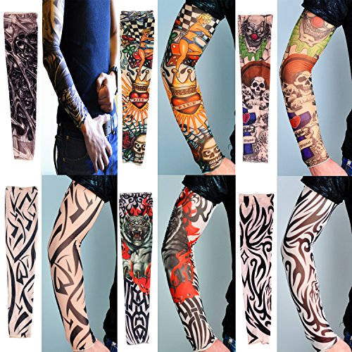 Arm Sleeve Sunscreen - 6 Pcs Set UV Protection Nylon Elastic Slip Fake Tattoo Sleeve Body Arm Stockings Kit,Perfect for Outdoor Sports,Riding,Fishing,Driving,Cycling Sunscreen