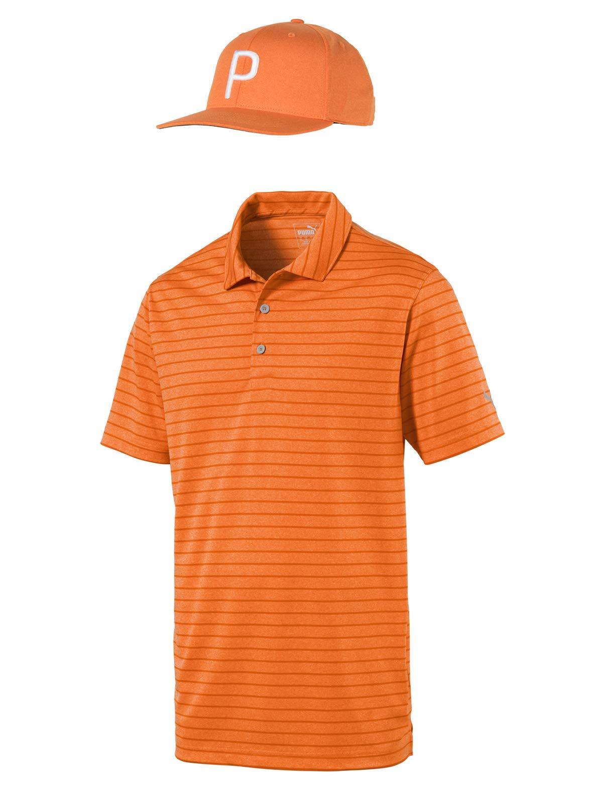 Rickie Fowler Masters Puma Golf Polo & Hat Bundle (2019)   Rotation Stripe Polo & P 110 Snapback (Vibrant Orange/Vibrant Orange, Medium)