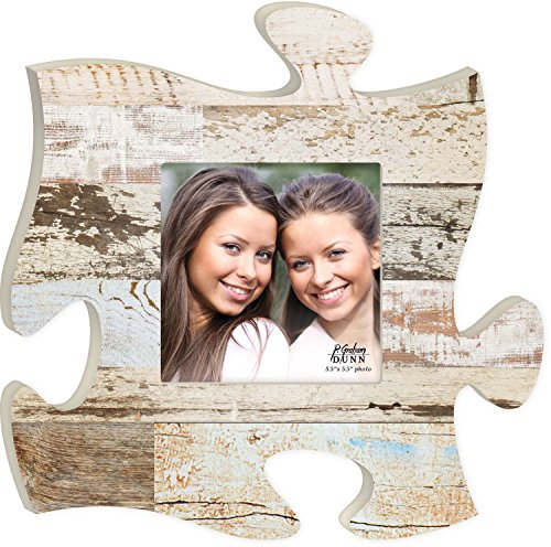 White Multicolor Distressed Wood Look 12 x 12 Wall Hanging Wood Puzzle Piece Photo Frame by P Graham Dunn