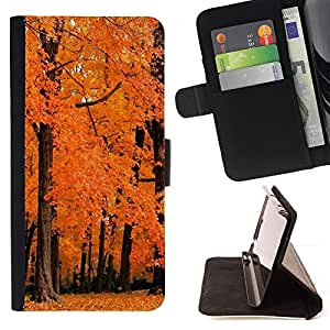DEVIL CASE - FOR Apple Iphone 5 / 5S - Nature Orange Woods - Style PU Leather Case Wallet Flip Stand Flap Closure Cover