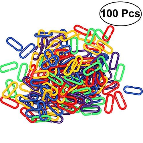 UEETEK 100 Pcs Parrot Bird Toys Parts,DIY Plastic C-clips Hooks Chain Links C-links for Parrot Bird ()