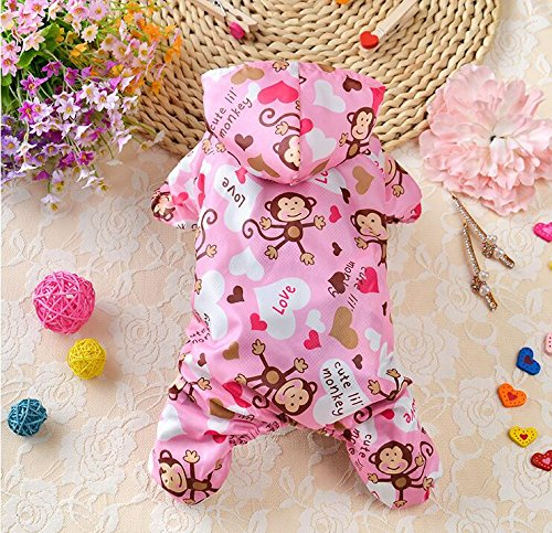 Weekendy Umweltfreundliche Materialien Hundebekleidung Affe Muster Vier Fuß Regenmantel Teddy Regenmantel Rosa M