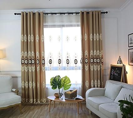 VOGOL Customized Simple Chenille Jacquard Blackout Window Elegance Curtains/ Drapes/Panels/Treatments For