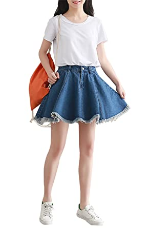 26d817266 Yimoon Women's Frayed Hem Pleated Denim Skater Mini Short Skirt (Blue,  X-Small