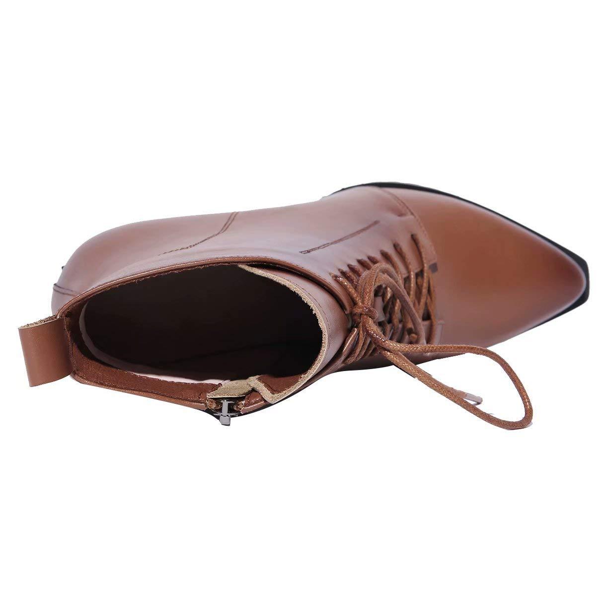 JYschuhe Leder Stiefeletten mit Schnürung Stiefeletten und 6cm Absatz Stiefeletten Schnürung Blockabsatz schnüren Schnürstiefeletten Damen Gefüttert 9626b5