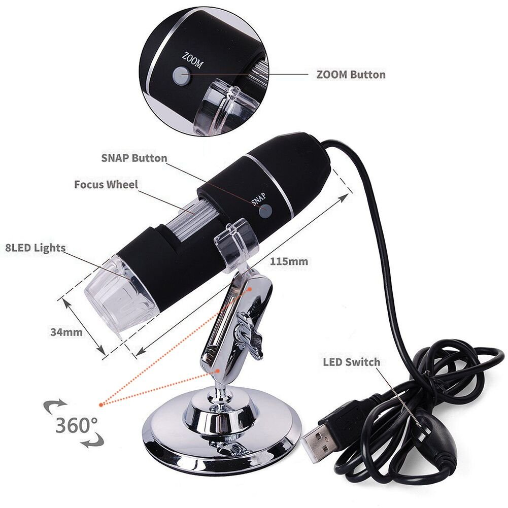 Portable USB Digital Microscope 20x-800x Magnification 8-LED Mini Microscope Endoscope Camera Magnifier with Stand by TOPMYS (Image #3)