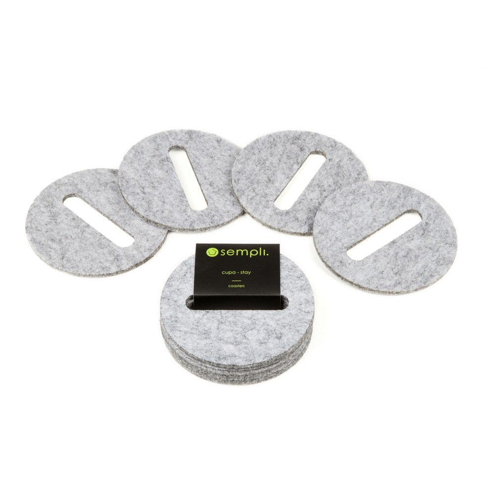 Sempli Cupa-Stay Grey Coasters for Glasses, Set of 4