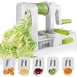 Spiralizer 5-Blade Vegetable Spiralizer Sedhoom Foldable Spiral Slicer Zucchini Noodle Veggie Pasta Spaghetti Maker for Low Carb Paleo Gluten-Free Meals