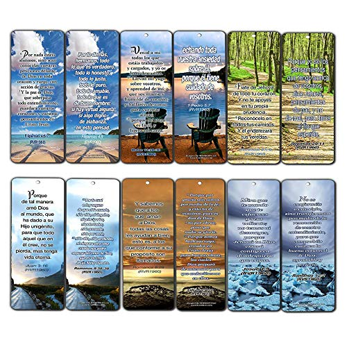Spanish Christian Bookmarks Cards (12-Pack) - Most Highlighted Bible Scriptures RVR1960 - Stocking Stuffers for Adults Teens Kids Men Women Boys Girls - Baptism Mission Evangelism Bible Study Church -
