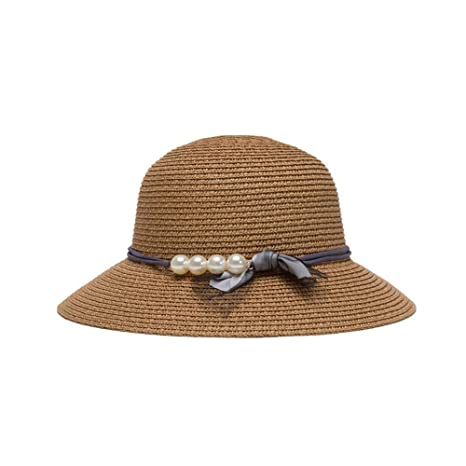 Fzwang Sol de Moda de Las Mujeres Sombreros Perla Protector Visera Casual  Poco a lo Largo cd08ca8da8d