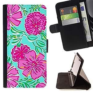Momo Phone Case / Flip Funda de Cuero Case Cover - Arte floral de primavera verde de la naturaleza - Samsung Galaxy Note 5 5th N9200