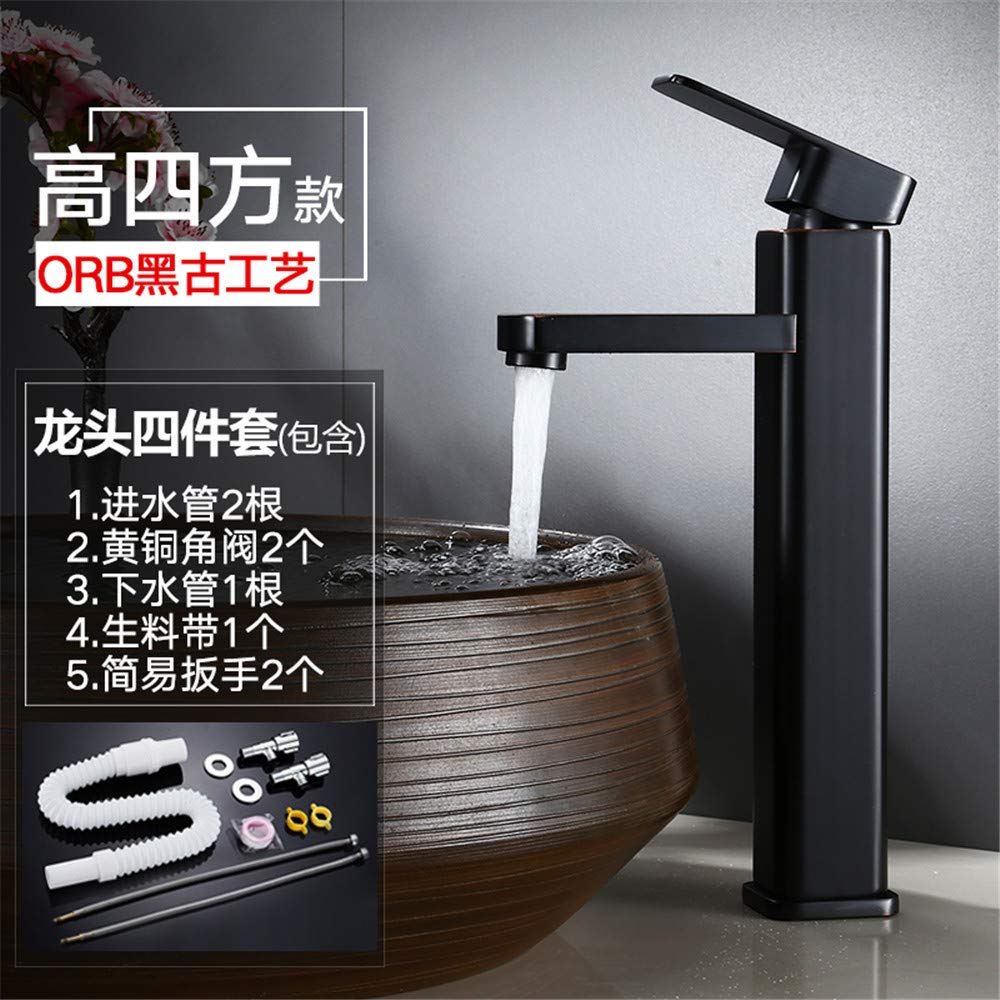 Guolaoer Black Faucet Hot And Cold Washbasin Faucet All Copper   Brass