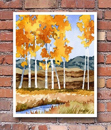 Aspen Trees Watercolor Landscape Art Print by Artist DJ Rogers